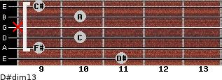 D#dim13 for guitar on frets 11, 9, 10, x, 10, 9