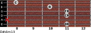 D#dim13 for guitar on frets 11, x, 11, 11, 10, 8