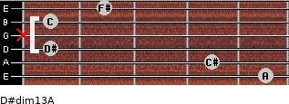 D#dim13/A for guitar on frets 5, 4, 1, x, 1, 2