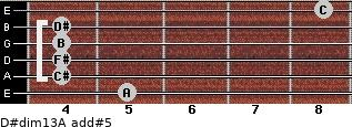 D#dim13/A add(#5) for guitar on frets 5, 4, 4, 4, 4, 8