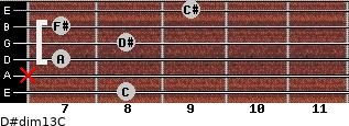 D#dim13/C for guitar on frets 8, x, 7, 8, 7, 9