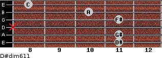 D#dim6/11 for guitar on frets 11, 11, x, 11, 10, 8