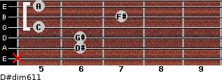 D#dim6/11 for guitar on frets x, 6, 6, 5, 7, 5