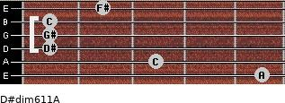 D#dim6/11/A for guitar on frets 5, 3, 1, 1, 1, 2