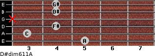 D#dim6/11/A for guitar on frets 5, 3, 4, x, 4, 4