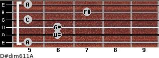 D#dim6/11/A for guitar on frets 5, 6, 6, 5, 7, 5