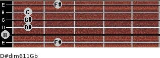 D#dim6/11/Gb for guitar on frets 2, 0, 1, 1, 1, 2