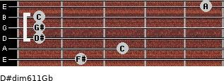 D#dim6/11/Gb for guitar on frets 2, 3, 1, 1, 1, 5