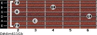 D#dim6/11/Gb for guitar on frets 2, 3, 6, 2, 4, 2