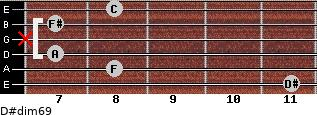 D#dim6/9 for guitar on frets 11, 8, 7, x, 7, 8
