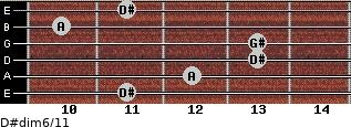 D#dim6/11 for guitar on frets 11, 12, 13, 13, 10, 11