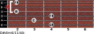 D#dim6/11/Ab for guitar on frets 4, 3, 4, 2, x, 2