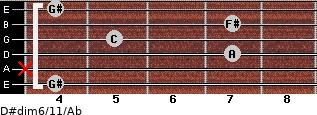 D#dim6/11/Ab for guitar on frets 4, x, 7, 5, 7, 4
