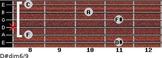 D#dim6/9 for guitar on frets 11, 8, x, 11, 10, 8