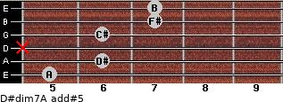 D#dim7/A add(#5) for guitar on frets 5, 6, x, 6, 7, 7