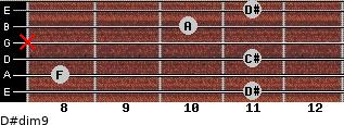 D#dim9 for guitar on frets 11, 8, 11, x, 10, 11