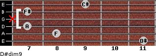 D#dim9 for guitar on frets 11, 8, 7, x, 7, 9