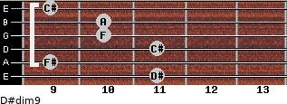 D#dim9 for guitar on frets 11, 9, 11, 10, 10, 9