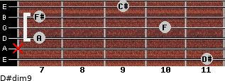 D#dim9 for guitar on frets 11, x, 7, 10, 7, 9