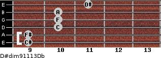 D#dim9/11/13/Db for guitar on frets 9, 9, 10, 10, 10, 11