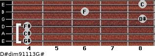 D#dim9/11/13/G# for guitar on frets 4, 4, 4, 8, 6, 8