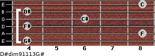 D#dim9/11/13/G# for guitar on frets 4, 8, 4, 6, 4, 8