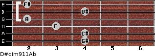 D#dim9/11/Ab for guitar on frets 4, 4, 3, 2, 4, 2