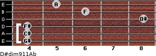 D#dim9/11/Ab for guitar on frets 4, 4, 4, 8, 6, 5