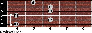D#dim9/11/Ab for guitar on frets 4, 6, 4, 6, 6, 5