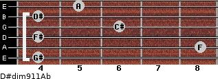 D#dim9/11/Ab for guitar on frets 4, 8, 4, 6, 4, 5