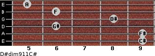 D#dim9/11/C# for guitar on frets 9, 9, 6, 8, 6, 5