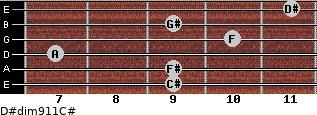 D#dim9/11/C# for guitar on frets 9, 9, 7, 10, 9, 11
