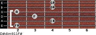 D#dim9/11/F# for guitar on frets 2, 4, 3, 2, 4, 4