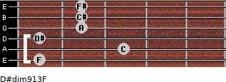 D#dim9/13/F for guitar on frets 1, 3, 1, 2, 2, 2