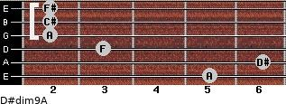 D#dim9/A for guitar on frets 5, 6, 3, 2, 2, 2