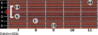 D#dim9/Db for guitar on frets 9, 8, 7, x, 7, 11