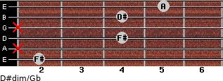 D#dim/Gb for guitar on frets 2, x, 4, x, 4, 5