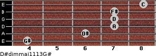 D#dim(maj11/13)/G# for guitar on frets 4, 6, 7, 7, 7, 8