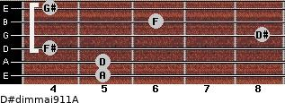 D#dim(maj9/11)/A for guitar on frets 5, 5, 4, 8, 6, 4
