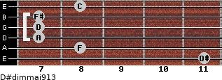 D#dim(maj9/13) for guitar on frets 11, 8, 7, 7, 7, 8