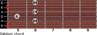 D#dom for guitar on frets x, 6, 5, 6, x, 6
