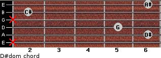 D#dom for guitar on frets x, 6, 5, x, 2, 6