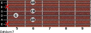 D#dom7 for guitar on frets x, 6, 5, 6, x, 6