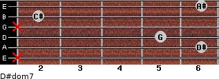 D#dom7 for guitar on frets x, 6, 5, x, 2, 6
