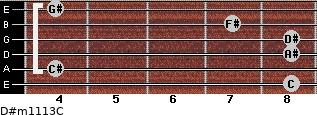D#m11/13/C for guitar on frets 8, 4, 8, 8, 7, 4