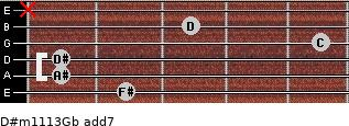 D#m11/13/Gb add(7) for guitar on frets 2, 1, 1, 5, 3, x