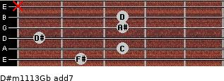 D#m11/13/Gb add(7) for guitar on frets 2, 3, 1, 3, 3, x