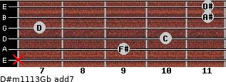 D#m11/13/Gb add(7) for guitar on frets x, 9, 10, 7, 11, 11