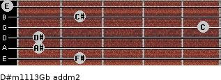 D#m11/13/Gb add(m2) for guitar on frets 2, 1, 1, 5, 2, 0