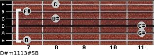 D#m11/13#5/B for guitar on frets 7, 11, 11, 8, 7, 8